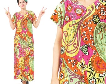 25% off SALE 30 Percent OFF SALE 1960s Psychedelic Maxi Dress Hippie Floral Print Dress Bright Colorful Maxi Dress Flower Power Short Sleeve