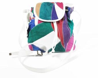 Vintage Patchwork Leather Bucket Bag 1980s Multi Color Rainbow Purse Bag White Leather Drawstring Bag Cross Body Bag Shoulder Strap NOS