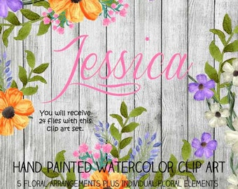 Instant Download - Hand Painted Watercolor Yellow Purple Flowers Floral Arrangements Clip Art Set - Item# 102 Jessica
