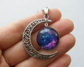 1 Moon cabochon pendant antique silver tone NB4-57