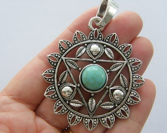 1 Chakra flower pendant antique silver tone I91