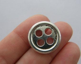 BULK 50 Buttons charms antique silver tone SN64