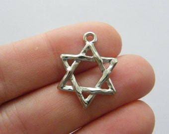 8 Star of David charms antique silver tone R72