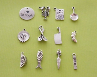 The I love to cook collection - 12 different antique silver tone charms