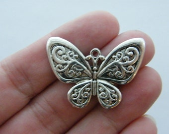 3 Butterfly pendants antique silver tone A364