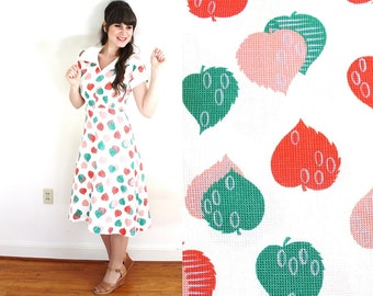 50s Dress / 1950s Novelty Print Dress / 1950s White Leaf Print Dress
