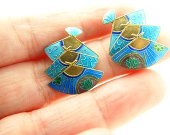 Enamel Fan Earrings - Moveable - Vermeil - Sterling Silver - Vintage
