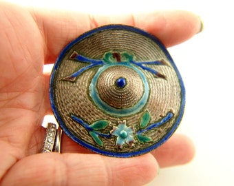 Enamel Hat Brooch - Silver Metal - Vintage Jewelry