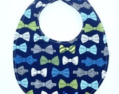 ON SALE Blue and Green Bow Tie Baby Bib 399054465