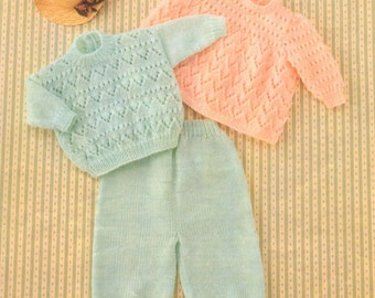 Angel Top/Dress, Sweater and Trousers 16 to 22 inch chest Birth to 2 years  Knitting PATTERN download
