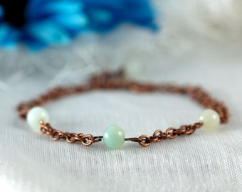Copper and Amazonite bracelet, chain, blue, green, gemstone
