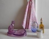 Adorable Cat Soap Dish in a Purple Acrylic Color/Heavyweight/80's