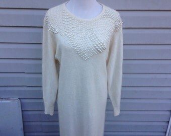 Cream Pearl Studded Sweater Dress