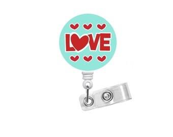 Love Hearts Badge Reel - Cute Badge Reel - Nurse Badge Holder - Nursing Badge Reel -  Badge Reels - Teacher Badge - Valentines Day Badge