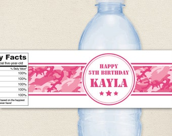 Pink Camo Party - 100% waterproof personalized water bottle labels