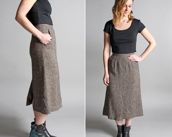 Vintage Speckled Tweed Tulip Skirt - Straight A-line Knee Length Midi Fall Collegiate Gray Grey Pocket 1970s 70s - Size Small S