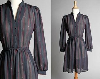 Vintage Striped Chiffon Day Dress - Summer Flowy Black Red Shirt Dress Shirtdress Casual Work Button Up Long Sleeve - Size Medium