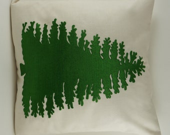 "Embroidered Decorative Pillow Cover - Pine Tree - 18"" x 18"" Light Tan (READY TO SHIP)"