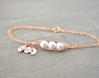 Mini / Tiny Personalized 3 Peas in a Pod Bracelet wrapped in Rose Gold Filled Wire - Choose your Initial and Pearl Color - Mother's Day