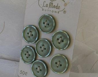 Vintage  La Mode Green Plastic Buttons 7p