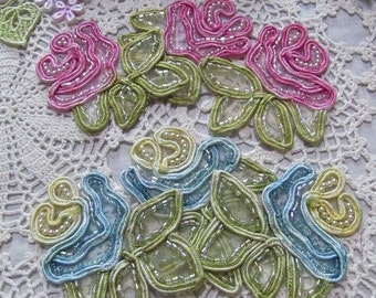 Beaded Rose Lace Soutache Flower Lace Hand Dyed  Embellishment Applique Crazy Quilt Scrapbooking