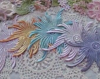 Lace Sunburst Hand Dyed Venise Applique Motif Embellishment