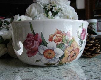 Pink Roses and Daffodils  Large Ceramic Yarn Bowl / Yarn Holder