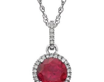 14kt White Gold Ruby & Diamond Necklace, July's Birthstone Necklace