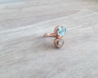 Rose Gold Ring with Raw Quartz and Turquoise Stone