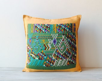 Vintage Embroidered Textile Throw Pillow from Guatemala