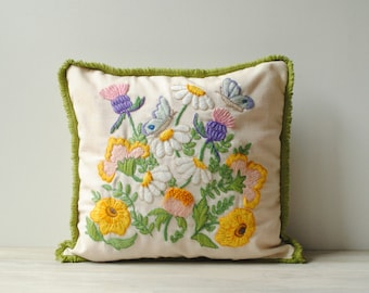 Vintage Floral Embroidered Throw Pillow