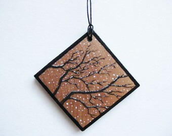 Tree Branches Ornament - Nature Snow - Hand Painted & Signed