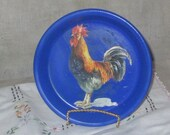 Jewelry plate with rooser decal ring dish jewelry dish chicken pickin kitchen decor