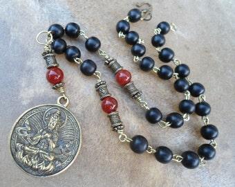 Buddhist Jewelry Buddhist Necklace  Buddha Amulet Inner Peace Black Ebony Carnelian Yoga Gift Zen Yoga Inspired Under 50 Compassion 27 Bead