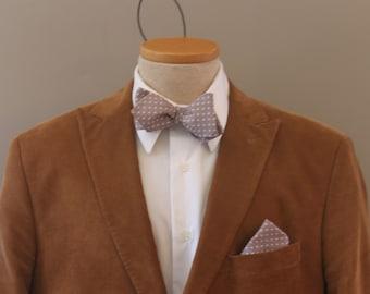 Men's Bow Tie - Gray Pin Dot - Grey and White - for men - Polka Dot Diamond Point Bowtie - Freestyle - Adjustable - In Stock