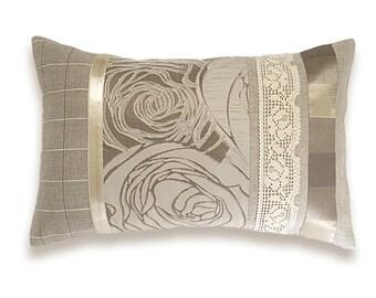 Ivory Cream Beige Tan Roses Lumbar Pillow Case OOAK 12 x 18 in IRMA DESIGN