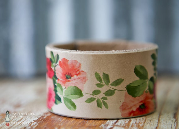 "CUSTOM HANDSTAMPED CUFF - bracelet - personalized by Farmgirl Paints -  floral ""shabby rose"" print leather cuff"