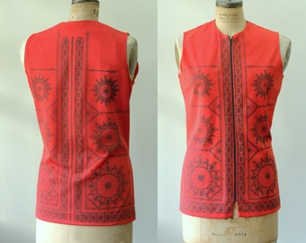 Vintage 1960s Top Vintage Tunic Vintage Mod Top Red Tunic Womens Red Top Mod Clothing Summer Top Sleeveless Red Top Size Large