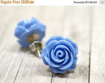 25% OFF SALE Twilight Earrings, Denim Blue Rose Earrings, Flower Stud Earrings, Periwinkle Blue Earrings, Blue Colored Jewelry, Retro Jewelr