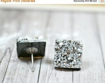 SALE Silver Druzy Earrings, Sparkly Galaxy Earrings Crystal Earrings, Metallic Silver Square Druzy Studs Geometric Posts, Square Stud Earrin