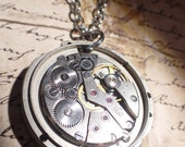 Mechanical Steampunk Clockwork gears necklace Steel gearbox necklace industrial style watch movement with gears!