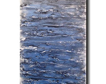Original Large Abstract painting - 18 X 36 JMJartstudio- No Way Out -Wall art-wall decor - Blue painting-XXl custom