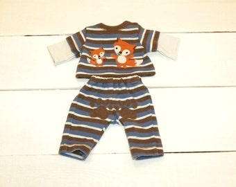 Striped Little Fox Playsuit -  14 - 15 inch boy doll clothes