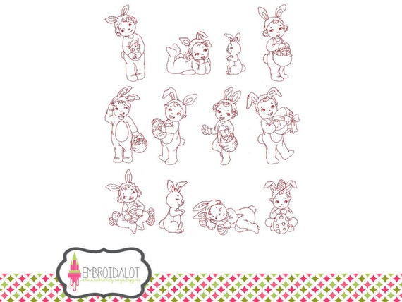 Easter machine embroidery design. 5 x 7 size, fun Easter embroidery in redwork. Dress up kids in bunny costumes for Easter egg hunt.
