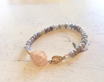 Labradorite and agate druzy bracelet