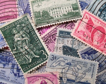 45 Vintage Postage Stamps,  Stamps, Pastel Stamps, Postage Stamps, Bulk Stamps, Craft Stamps