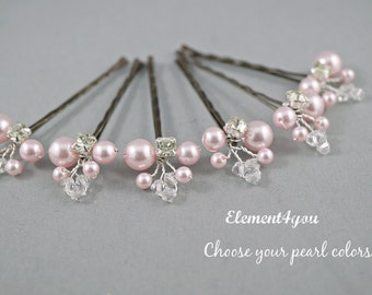 vory Pearl Clip, Bridal Hair Pins, Wedding Hair Accessories, Swarovski Pearl Wedding Hair Pins, Set of 6, Floral Vine, White hair clips.