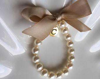 Bridesmaid Gold initial charm bracelet, personalized  bracelet,  custom made bridesmaid bracelet with any ribbon color