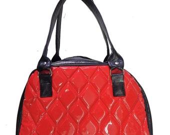 "Bowler Bag Shoulder Bag With ""Shiny RED Diamond"" & ""Black Shiny  Fabric "" 50's Pattern Shoulder Bag , RED Color, New"