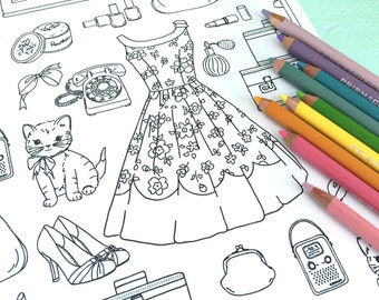 Girly Coloring Etsy - coloring pages of girly things